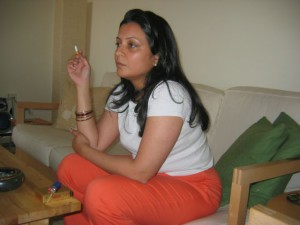 high society aunty smoking photo