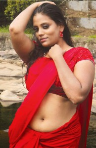 hot vhabi red saree naval sexy pic
