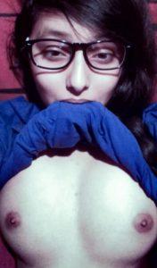 nerdy Indian teen big boobs selfie bedroom