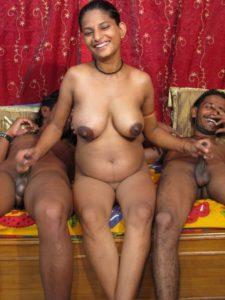 Desi Aunty stroking two cocks