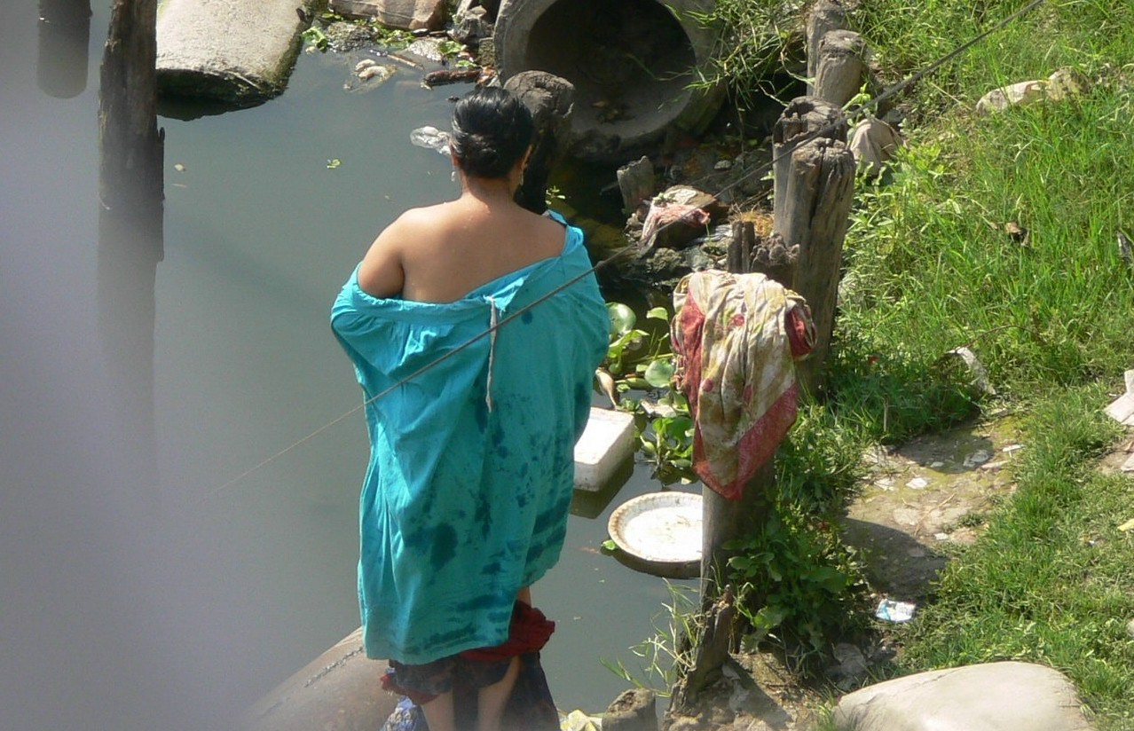 village girl bath